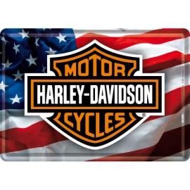 Harley Davidson mit US Flagge, Blechschild  30x40